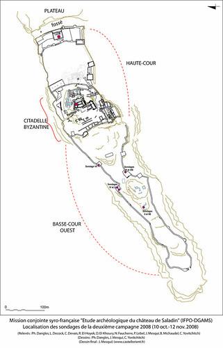 Plan général du Château de Saladin/Saône/Sahyun (Syrie) et localisation des sondages effectués lors de la campagne 2008