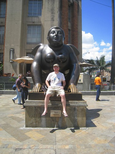 Posing with one of the 20 Botero sculptures in a plaza