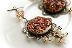changing season earrings (Chili Crab) Tags: flowers autumn brown leaves bronze gold one chili crystal handmade ooak earring crab jewelry creme kind fimo clay etsy elegant brass 2009 pendant freshwater filigree polymer swarovsky