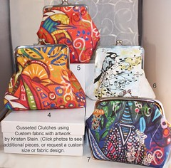 Clutches with custom fabric by Kristen Stein (kristenstein) Tags: art painting contemporary modernart fineart bags handbags etsy purses ceramictiles clutches handcraftedjewelry gardenstakes customfabric spoonflower kristenstein kristensteinfineart