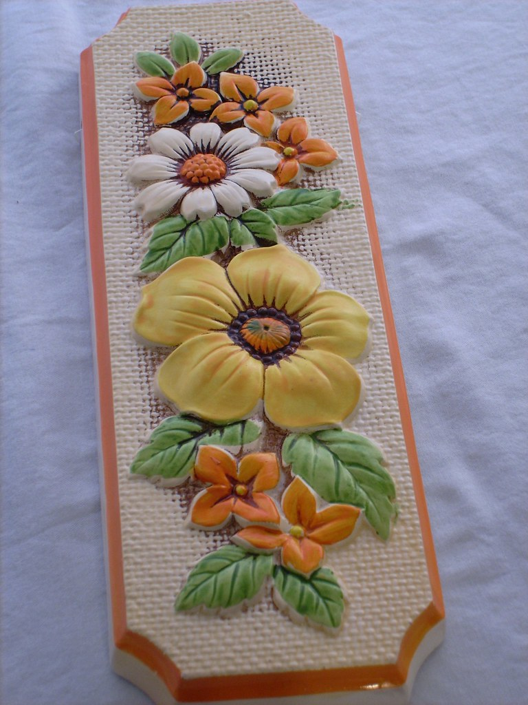 Lefton Like Orange and Yellow Floral Wall Plaque