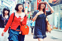 Polka Dots Are In (Jon Siegel) Tags: girls fashion japan 35mm japanese tokyo crazy nikon f14 shibuya polka dots nikkor d700 nikkor35mmf14ais
