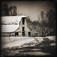 mississippi winter (Jeff Rinehart  (almost back in action)) Tags: winter blackandwhite snow cold texture ice monochrome sepia barn contrast rural vintage mississippi decay country textures faux layer layers toned lensbabies tinted lensbabyoriginal ttv jeffrinehart