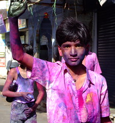 A boy celebrates Holi in India
