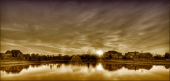 Fountain Sunrise (sunsurfr) Tags: houses sky sun reflection fountain clouds sunrise pond alabama montgomery d200 hdr