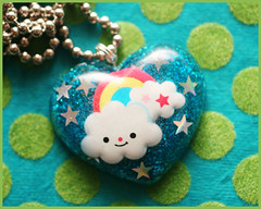Happy Daze (stOOpidgErL) Tags: blue cloud cute glitter happy japanese diy necklace rainbow heart handmade craft jewelry sugar plastic kawaii resin pendant stoopidgerl