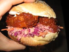 BBQ Seitan and Crispy Coleslaw Sandwich (seitansaiddance) Tags: vegetables bread salad vegan sauce sandwich seitan veganomicon