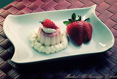 Strawberry Cheesecake Flan (Mashael Al-Shuwayer) Tags: food digital canon eos milk strawberry cream sugar danette internationalfood 400d mashael alshuwayer