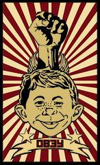obey alfred (u2canreed) Tags: stars freedom design wings graphics stripes satire banner obey communism fist sunburst illustrator freckles shepardfairey alfredenewman madmagazine gaptooth reedbiotch