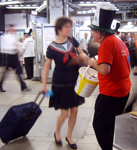 Top Hat - Richard House Hospice Collecting Money on the Tube