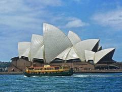 Manly ferry and Sydney Opera House (Daniel Schwabe) Tags: blue sea architecture modern boat sydney australia operahouse blueribbonwinner