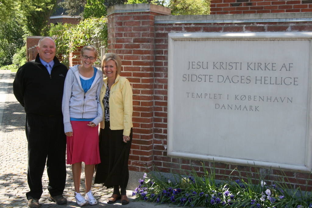 Dad, Mom, Cassie at Copenhagen Temple
