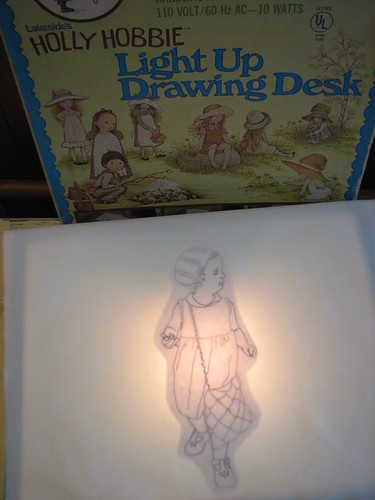 tracing the design on to fabric with my Holly Hobbie lightbox