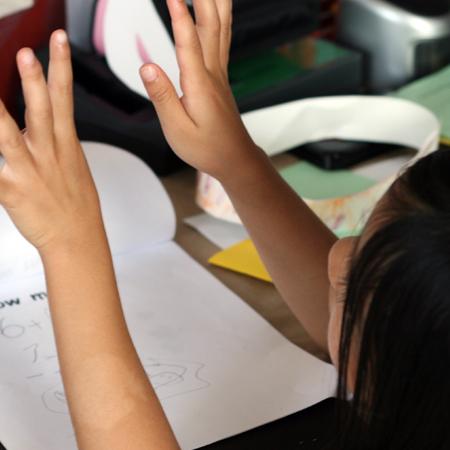 Rae doing some math homework