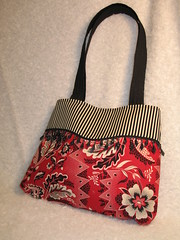 Red Bandana w/ beads & piping (Sewz4fun) Tags: beads purse piping handbag