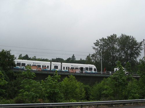 Sound Transit train with Graffiti