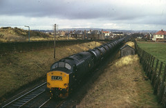 Class 37 no. 6894 with oil tankers between Prestwick & Ayr, southbound, March 1974.  A. Wilson