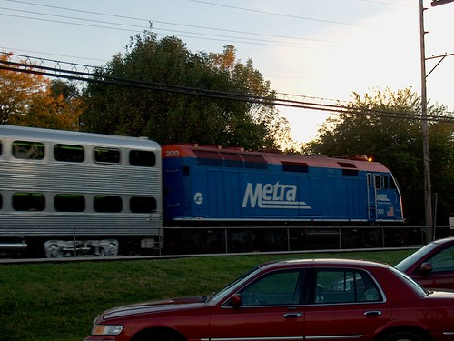 Westbound Metra commuter local arriving at the Hollywood flagstop depot. Brookfield Illinois. October 2006. by Eddie from Chicago