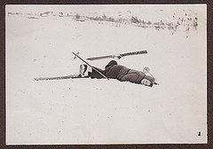 Ski-Trip (bloomfield and george) Tags: woman snow ski vintage found funny accident vernacular crumpled fallingover