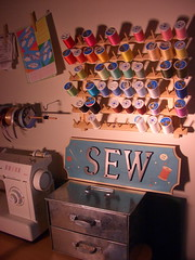 Sewing Room Plaque (Joyful Abode) Tags: wood thread plaque mailbox project painting paint buttons sewing room painted letters sew pins numbers needle how joyful tutorial abode spool