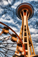 Into the Clouds  (avirus) Tags: seattle city blue sky cloud wheel washington structure spaceneedle