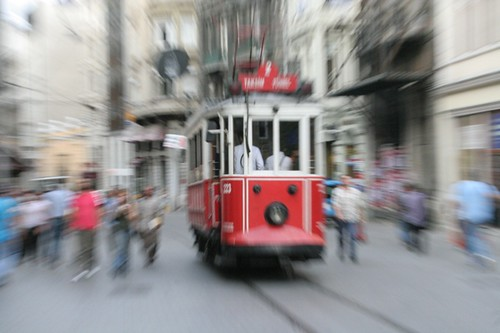 A Tram on Istiklal Caddesi