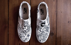 Custom Vans Slip Ons (timrobot) Tags: white black wall design robot tim character off marker kicks vans slip custom timrobot