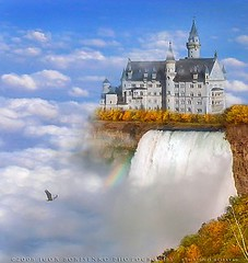 Autumn Castle Paradise in the Sky (:: Igor Borisenko Photography ::) Tags: blue autumn trees sky cliff mist castle fall water yellow rock misty fog clouds happy waterfall rainbow colorful heaven place princess joy baldeagle creative dream vivid peaceful prince cliffs falling planet land dreamy cheerful wonderland neuschwanstein tale allrightsreserved foiliage rushing highquality outstandingshots felizcumpleaos digitalmattepainting ultimateshot igorb81 igorborisenkophotography happybirthdaytoyoulorrie yestoyoud