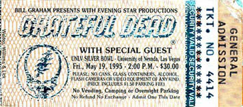 Grateful Dead (GDTS) ticket for 5/19/95 Sam Boyd Silver Bowl (Stadium), University of Nevada, Las Vegas (UNLV) (with the Dave Matthews Band) [from www.psilo.com]