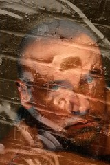 Eternity (just.Luc) Tags: portrait man male brick wall beard skull goatee grafitti quote doubleexposure bricks uomo portret eternity mur hombre picnik woodyallen homme muur baard schedel articulateimages gentlecreatures ritrado