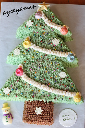 Christmas Tree Cake with chocolate ornaments