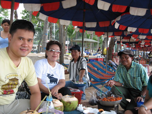 With the beach food vendors