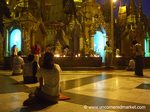 Evening Prayers at Shwedagon Paya