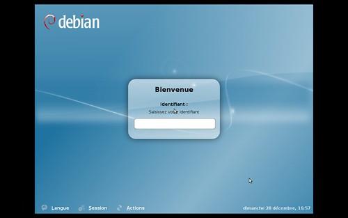 L'écran de connexion de Debian Lenny