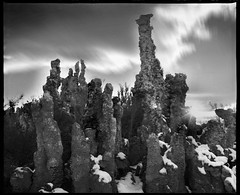 Reaching Up | South Tufa Tower, Mono lake, CA, USA (ART SRISAK | PHOTOGRAPHY) Tags: california bw mamiya film mediumformat monolake tufa silhuette 123bw autaut rb67pros filmforward artsrisak