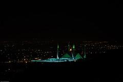 light and dark (AamerJaved) Tags: city pakistan night masjid facebook islamabad niht damanekoh margallahills faisalmosque pirsohawa mntains
