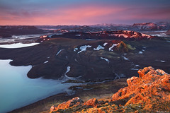 Ljtipollur Crater in Landmannalaugar Peninsula, highlands of Iceland (skarpi - www.skarpi.is) Tags: travel wild mountain lake black pool sunrise river island photography iceland highlands fishing sand colours hiking hike crater flyfishing traveling wilderness trout geothermal patel sland browntrout landmannalaugar laugar ljotipollur hlendi hlendi ljtipollur pollur skarpi tungna ggur uglypool travelingiceland skarphedinnthrainsson
