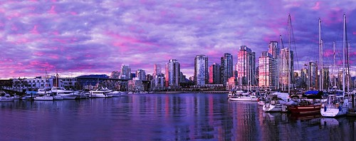 Vancouver Downtown Dusk Magenta Filter Cropped