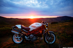 Ducati Monster (#46416) (mark sebastian) Tags: california sunset sky sun mountains colors bike monster set clouds race bay explore area motorcycle sportbike ducati introvert halfmoon introversion infp markjsebastian markjsebastiancom