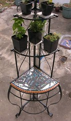 (Gila Mosaics n'stuff) Tags: abstract mosaic shelf recycle 2008 salvage plantstand artfromtrash gardenmosaic