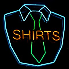 Shirts (Jeremy Brooks) Tags: california blue red green shirt neon unitedstates belmont cleaners tie shirts necktie drycleaner