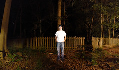 """Day 144/365 """"This is pretty much the only night life I ever see..."""" (Hunter Wilson) Tags: portrait panorama white man hat shirt night photoshop self d50 dark lens person evening nikon long exposure angle vibrant nolan wide jeans teen wilson hunter 365 2008 timer wellstone 365days hunterwilson"""