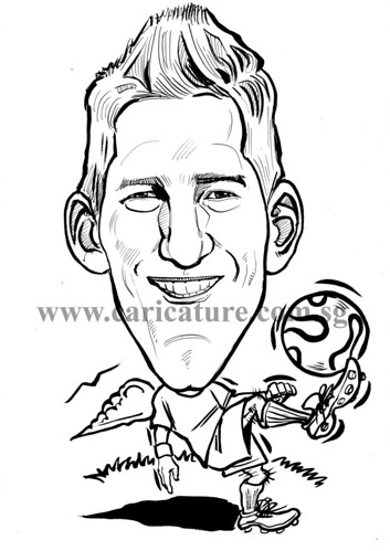 Caricature of Bastian Schweinsteiger ink watermark