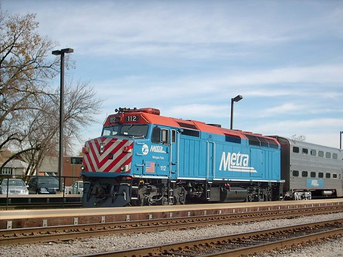 Eastbound Metra commuter local stopped at the Franklin Park commuter rail station. October 2007. by Eddie from Chicago