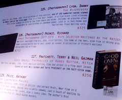 Terry Pratchett and Neil Gaiman in an Antiquarian Book Fair Catalogue