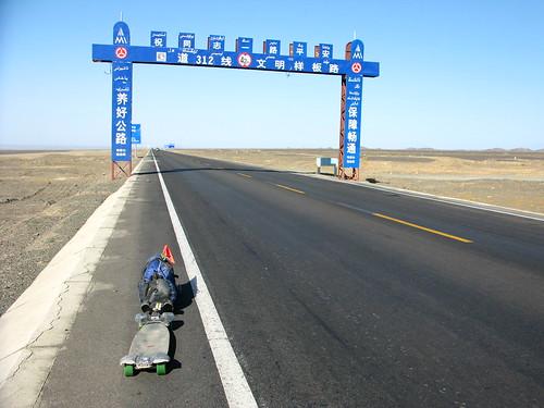 The rig on National Highway 312 between Shanshan and Sandaolin, Xinjiang, China