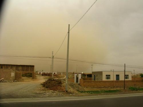 Dust storm near Shanshan, Xinjiang, China