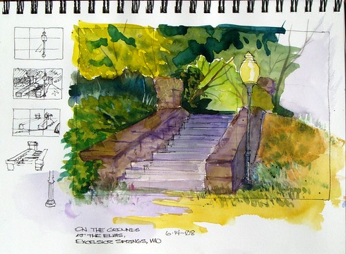 Watercolor Sketch - On the Grounds at the Elms