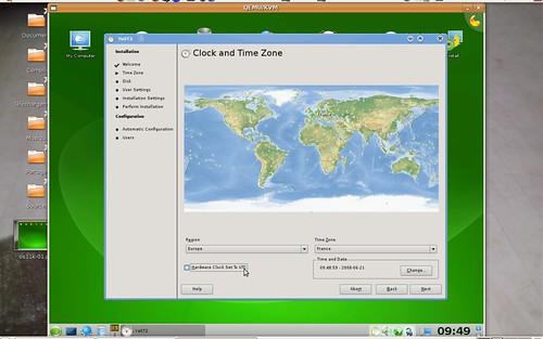 Un des écrans d'installation de la version KDE d'OpenSuSE 11.0