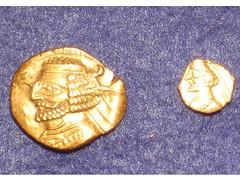 Orodes II drachm and obol (Baltimore Bob) Tags: silver coin ancient obol parthian margiana parthia drachm rhagae orodesii